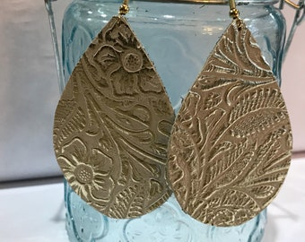 Large size, gold and cream floral embossed leather teardrop earrings