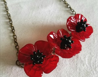 Poppy Necklace - Glass Lampwork Flower Beads - Antique Bronze Chain - Mother and Son