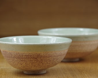 Set of Two Ceramic Bowls Handmade in Stoneware, Pottery Bowls