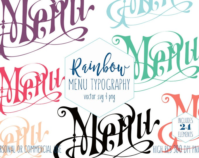 MENU TYPOGRAPHY CLIPART for Commercial Use Clip Art Cafe Restaurant Wedding Menu Calligraphy Text Rainbow Colors Vector Digital Graphics Svg