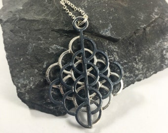 Lotus Sacred Geometry Necklace Sterling Silver Pendant Seed of Life Jewelry Mermaid Dragon Scale Christmas Birthday Gift Her Scallop Wife