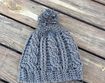 Cable Crochet Hat, Crochet PomPom Hat, Crochet Hat, Crochet Beannie, Pom Pom Hat, Grey Crochet Hat, Ready to Ship