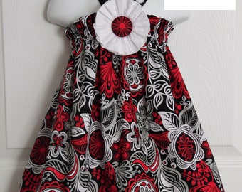 New Black and Red Floral Halter Top/Dress Toddler Infant Sundress size  0-3m, 3-6m, 6-9m, 9m-12m,18-24mos.,2t, or 3t
