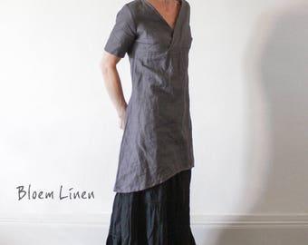 Linen dress, V neckline, Short dress, Tunic,