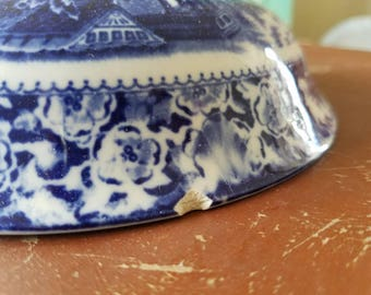 A Vintage Blue and White Tureen LID ONLY- Made in England!