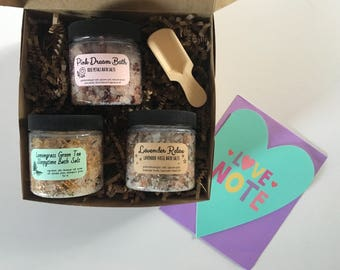 Valentine Spa Gift: assorted Bath Salts in a Gift Box with Valentine Card