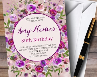 Pink & Purple Watercolour Floral 80th Personalised Birthday Party Invitations