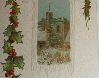 Church Scene With Holly Antique Langsdorf Christmas Postcard