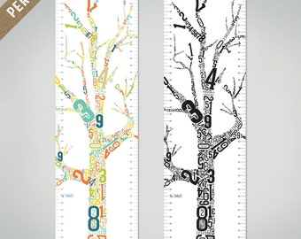 "PERSONALIZED Growth Chart ""Growing Tree"", canvas, wall art, nursery, baby room, children's decor, new baby gift, shower gift, family tree"