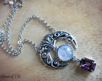 Rainbow Moonstone Crescent Pendant, Antique Glass Amethyst Drop, Shiny Soldered Chain