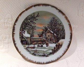 "Currier & Ives - decorative ""The Farmer's Home - Winter"" plate / / made in the Japan"