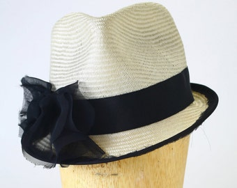 White Straw Spring/Summer Fedora Hat Cap, Grosgrain Ribbon, Black Frayed Chiffon Bow and Piping-Couture Millinery/Kentucky Derby/Women's Hat
