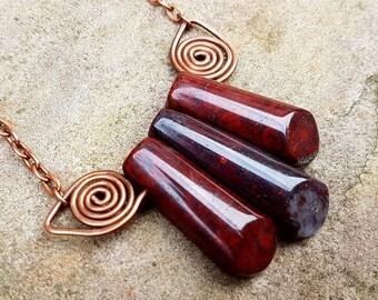 Three Flame Jasper points. Gemstone points, triple strand. Autumn Jewellery, dark red gemstone. Autumnal necklace. Copper spiral necklace.