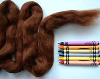 CORRIEDALE WOOL ROVING / Cocoa Brown 1 ounce / wool fiber for needle felting, wet felting, animal fur, dreadlocks, spinning, weaving, props