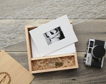 "4x6"" Maple Wood USB and Photo Box - Print Proof Box - Photography Presentation Box ( Custom Laser Engraving, USB Optional )"