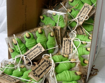"""12 - Five Toe Gift Boxes of Halloween & Shrek Party Cookies - """"Ogre Toes"""" in your choice: Maple and/or Almond"""