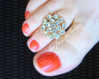 Rhinestone Toe Ring, Rhinestone Ring, Gold Toe Ring, Princess Toe Ring, Princess Ring, Toe Ring, Ring, Stretch Bead Toe Ring