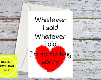 Sorry Card Girlfriend, Sorry Card Boyfriend, Apology Card, Sorry Card, I'm Sorry Card, Funny Apology Card, Funny Sorry Card, Printable