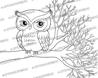 Digital Stamp Owl on Branch, Autumn Digi Download Clip Art, Coloring Page, Fall Forest, Bird Tree, Cute Scrapbooking Supplies, Graphic