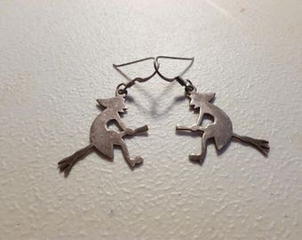 925 Witches Earrings - Vintage Silver Witch Earrings - Flying Witches Earrings - Wicca Earrings -  Pagan Earrings - Dangling Silver Witches