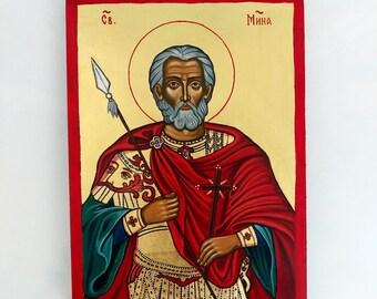St. Menas The Wonder Worker, Saint Martyr Mina of Egypt, original icon on wood, 8x10inches