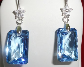 Natural 30 cts Cushion CKB cut Swiss Blue Topaz gemstones, solid Sterling Silver Pierced Earrings