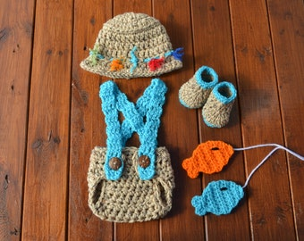 Crochet Baby Fishing Outfit Newborn Boy Photo Outfit Baby Fishing Costume Photography Prop Crochet Baby Clothes Baby Shower Gift Baby Boy