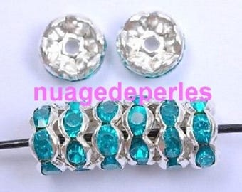 20 beads intermediate blue 8 mm Crystal rondelles