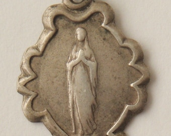 Virgin Mary of Lourdes Vintage Sterling Silver Religious Medal Pendant on 18 inch sterling silver rolo chain