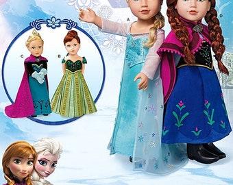 "Simplicity Pattern S0747  FROZEN, Elsa & Anna, 18"" AG Doll Costume Pattern, Elsa dress, train, Anna dress, cape, Coronation dresses"