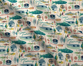 Gone Fishing Fabric by the Yard Cotton Quilting Fabric Camping Fabric Kids Room Decor Nursery Fabric Fish Canoe  3290840