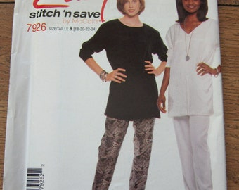 1995 McCAlls pattern 7926 misses tunic and pull on pants sz 18-20-22-24 uncut