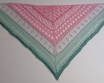 Crocheted shawl / wrap / scarf / pink / green / lace