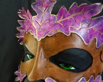 Forest Nymph Purple Greenman Leather Mask OOAK