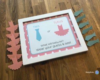Gender Reveal Pin Set - Pins and Sign: Ties or Tutus Party Baby Shower Die Cut Ties or Tutus  Pink Girl Ballet & Blue Boy Ties vote game