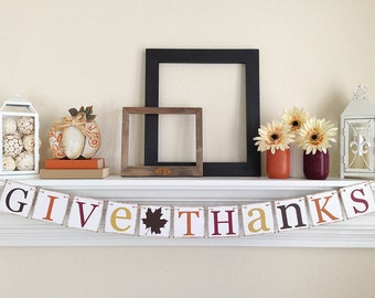 Give Thanks Banner, Thanksgiving Decor, Thanksgiving Banner, Thanksgiving Hostess Gift, Happy Thanksgiving Banner, Brown Leaf, B040