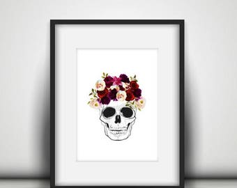 Floral Skull Print, Marsala Flower Skull Art Print, Day of the Dead Art, Flower Skull Print, Digital Art Print, Wall Gallery Prints