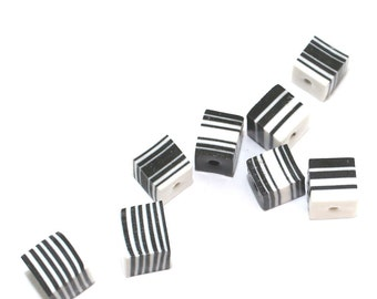 Black and white cube beads layered necklace pendant, DIY jewelry gift for women craft, polymer Clay beads bracelet earrings necklace, 8 pcs.
