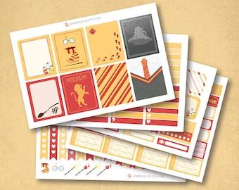Harry Potter Gryffondor Planner Stickers, autocollants planificateur mat ou brillant, autocollants de planificateur de vie, erin condren filofax, mambi planificateur heureux
