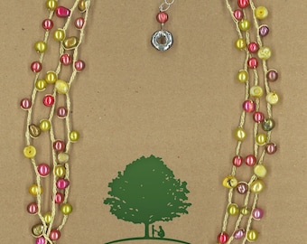 JewelryOs® Necklace- Lime & Pink Pearl Crochet-Giving Back-Vermont Craft-The Family Place-Gift For Mom-Sister-Girlfriend Gift-Not for Profit