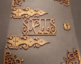 Wicca witchcraft.  Mdf chipboard Craft Frame Embellishments. 2mm Engraved mdf.  Spell book. Journal art, mixed media, pagan