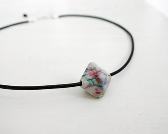 Single bead necklace leather cord necklace handmade glass bead black cord necklace for women