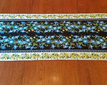 Blue Petunia Flowered Quilted Table Topper Runner