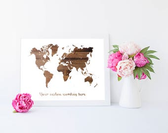 World map custom wording wood effect  - print, home decor, bedroom decor, gift for travellers