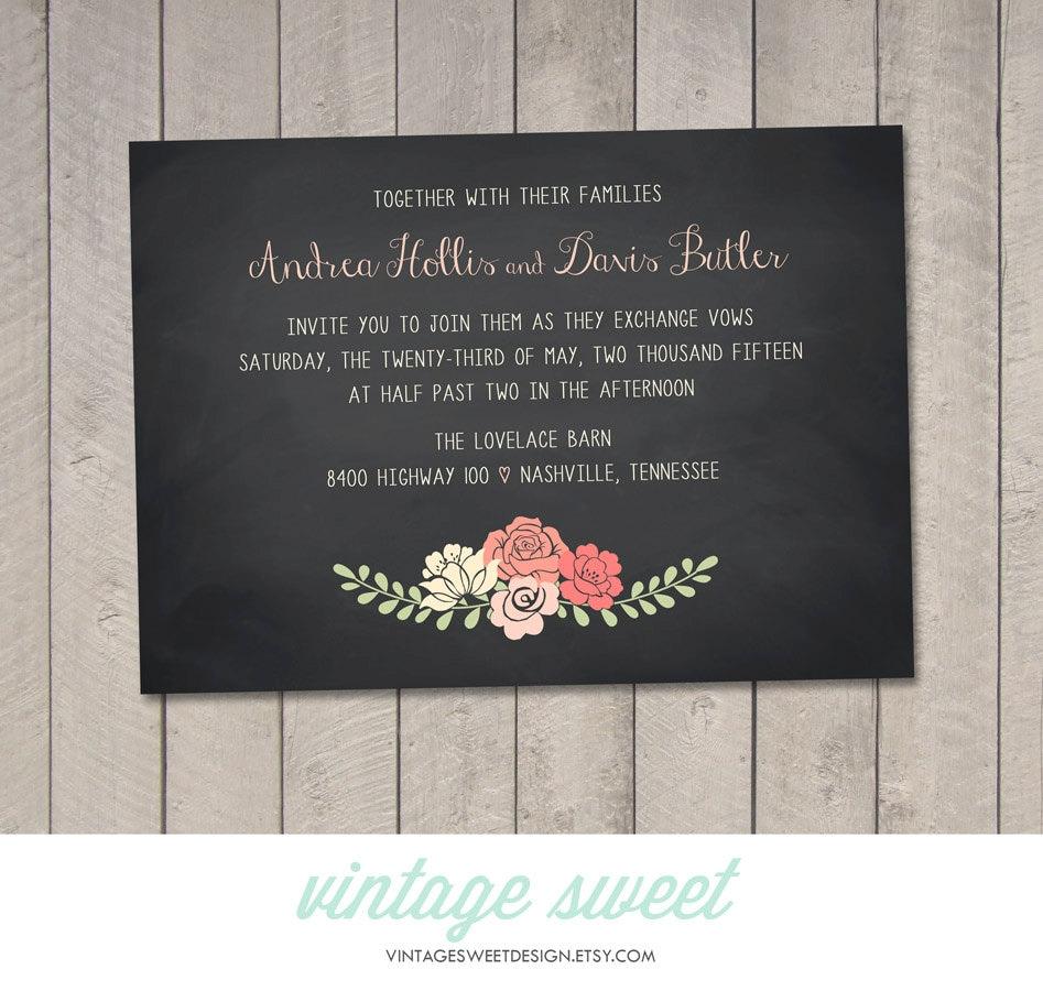 Diy Chalkboard Wedding Invitations: Chalkboard Floral Wedding Invitation Printable DIY By