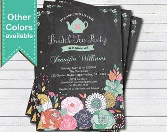 Bridal shower tea party invitation. Chalkboard floral bridal tea party, bridal luncheon, baby shower, any occasion, digital invite. BS116