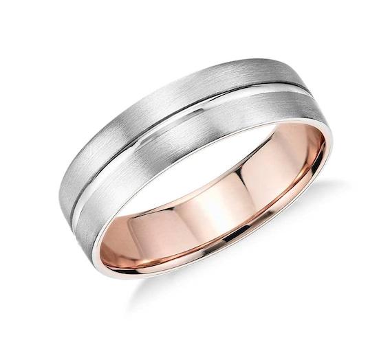 Milgrain Men S Wedding Ring In Platinum 6mm: Men's Matte Inlay Wedding Ring 6mm Wide Wedding Ring