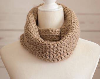 Gold infinity cowl, crocheted