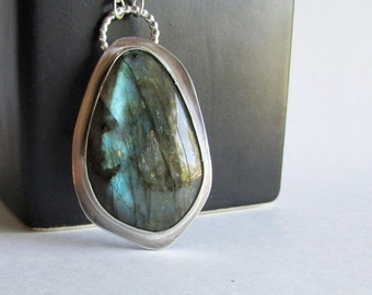 Labradorite Butterfly Wing Necklace - Pierced Sterling Silver Necklace - 25th Anniversary Gift - Birthday Gift for Her