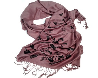 Video Game Controller scarf. Dusty Mauve linen weave pashmina. Silkscreen print. For him or her. Perfect gamer gift. More colors available!